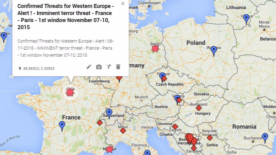 Confirmed Threats for Western Europe - alert - Imminent terror threat - France - Paris - 1st threat window 07-10 Nov 2015