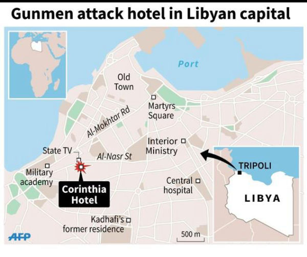 Nine dead in attack on luxury Tripoli hotel