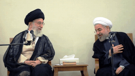 president Hassan Rouhani and the supreme leader Ali Khamenei